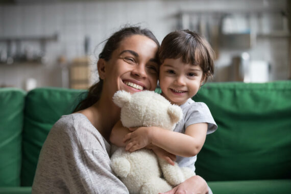 happy mother with adopted child